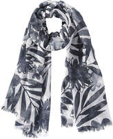Joe Fresh Women's Fringe Floral Scarf, White (Size O/S)
