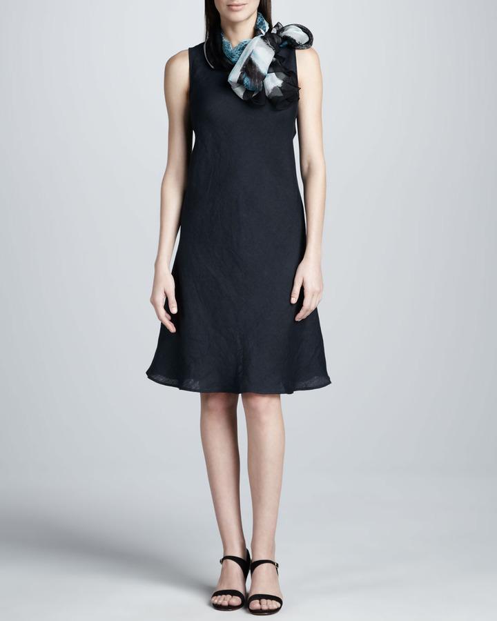 Neiman Marcus Linen Dress & Scarf Set