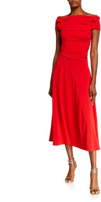 Talbot Runhof Ruched Crepe Dress