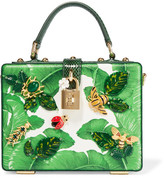 Dolce & Gabbana Dauphine Embellished Textured-leather Shoulder Bag - Green