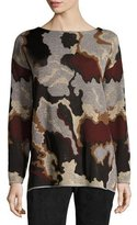 Lafayette 148 New York Metallic Camo Jacquard Wool Sweater, Light Nickel Multi