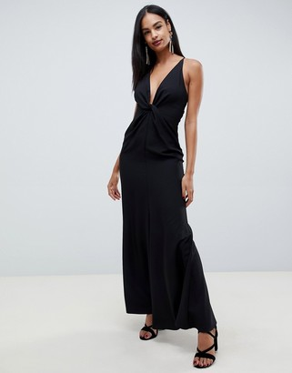 Asos Design DESIGN maxi dress with knot front and open back in crepe-Black