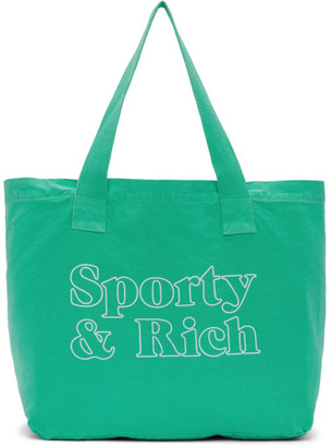 Sporty and Rich Green Fun Logo Tote