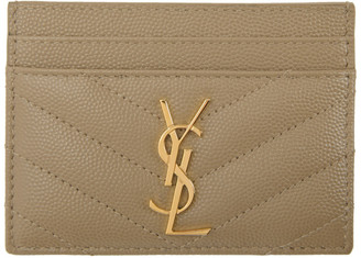 Saint Laurent Tan Monogramme Card Holder