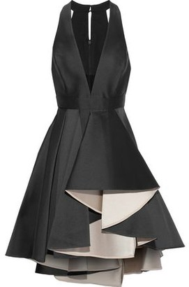 Halston Tulle-trimmed Pleated Duchesse-satin Mini Dress