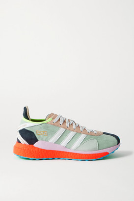 adidas Human Made Tokio Solar Hu Leather And Suede-trimmed Mesh Sneakers - Gray green
