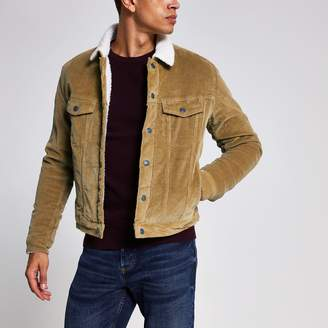 Jack and Jones Mens River Island Beige borg collar cord jacket