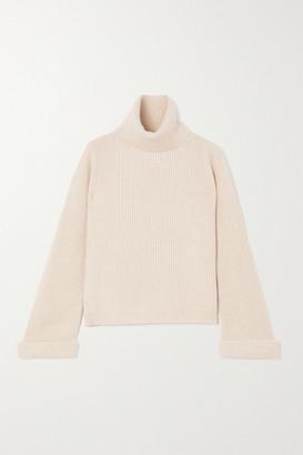 Brunello Cucinelli Bead-embellished Ribbed Cashmere Turtleneck Sweater - Cream