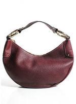 Gucci Burgundy Pebbled Leather Bamboo Hardware Hobo Handbag