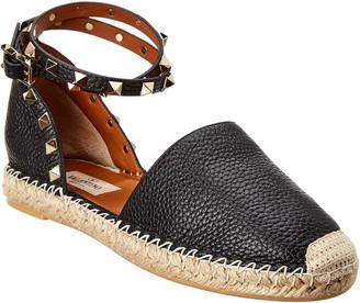 Valentino Rockstud Ankle Wrap Leather Espadrille