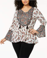 Style&Co. Style & Co Plus Size Bell-Sleeve Peasant Tunic, Created for Macy's
