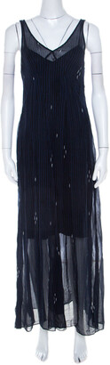 Isabel Marant Navy Blue Chiffon Sleeveless Cassidy Maxi Dress S