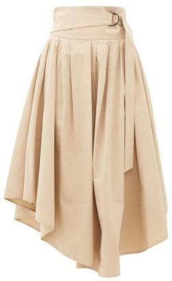 Brunello Cucinelli Belted Cotton-poplin Midi Skirt - Womens - Beige