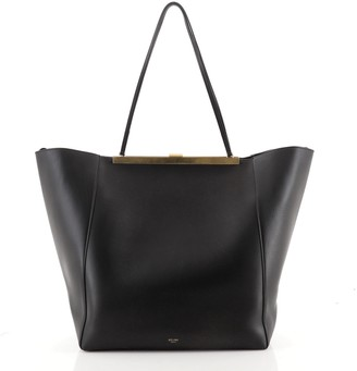 Celine Clasp Cabas Tote Leather Large