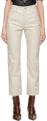 Nanushka Off-White Vegan Leather Vinni Trousers