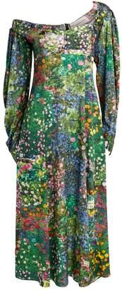 Natasha Zinko Floral Print Lantern-Sleeve Maxi Dress