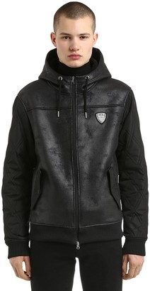 Emporio Armani Ea7 Hooded Faux Shearling & Nylon Jacket