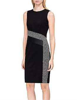 Calvin Klein Tweed Patchwork Sheath