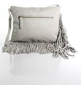 Shiraleah Ivory Leather Tassel Detail Clutch Handbag Size Small