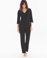 Soma Intimates Lace Trim Pajama Set Black