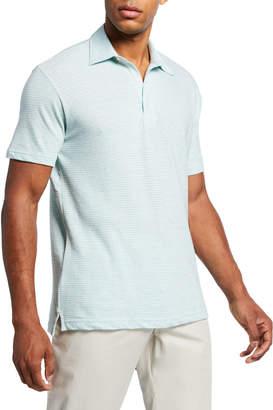 Faherty Men's Isle Striped Melange Polo Shirt, Green