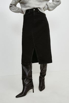 Karen Millen Split Seam Denim Midi Skirt