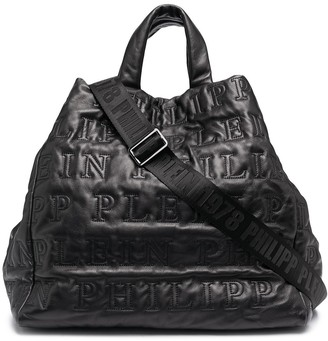 Philipp Plein Oversized Top Handle Leather Tote Bag