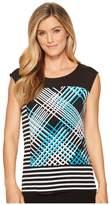 Calvin Klein Sleeveless Print Stripe Top Women's Sleeveless