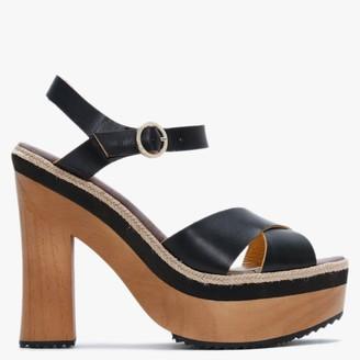 Carmen Saiz Black Leather Platform Sandals