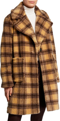 KENDALL + KYLIE Plaid Patch Pocket Faux-Fur Coat