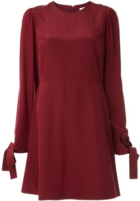 CK Calvin Klein Silk Long Sleeve Shift Dress
