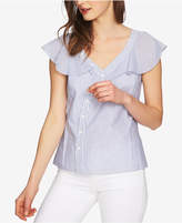 1 STATE 1.STATE Cotton Flutter-Sleeve Asymmetrical Blouse