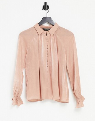 Lipsy textured satin blouse in pink
