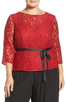 Alex Evenings Plus Size Women's Sequin Lace V-Back Blouse