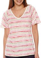 Liz Claiborne Flutter-Sleeve Stripe Top - Tall