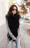 Ily Couture Black Long Tassel Scarf