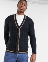Burton Menswear cable knit cardigan in navy