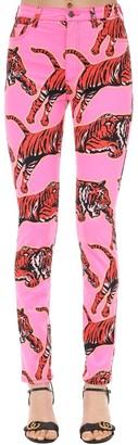 Gucci High Rise Tiger Print Denim Jeans