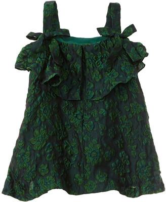 Oscar de la Renta Jacquard Shoulder-Tie Silk-Blend Dress