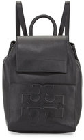 Tory Burch Bombé-T Flap Leather Backpack, Black