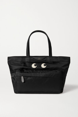 Anya Hindmarch Eyes Leather-trimmed Shell Tote - Black