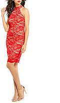 Teeze Me Sleeveless Mock Neck Lace Sheath Dress