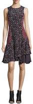 Derek Lam 10 Crosby Sleeveless Floral Silk Tank Dress, Midnight/Multicolor