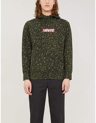 Levi's Leopard-print graphic logo cotton-jersey hoody
