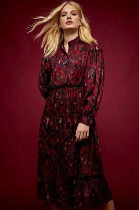 Topshop IDOL Red Animal Print Midi Dress