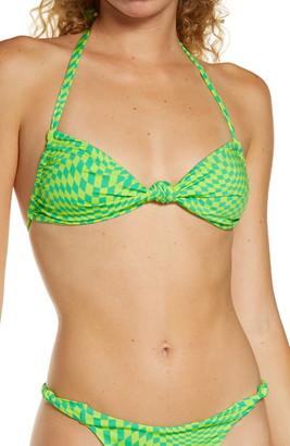 Frankie's Bikinis Gabe Checker Print Knotted Halter Bikini Top
