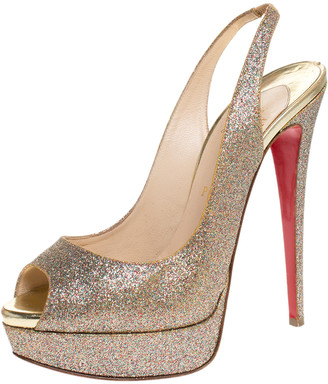 Christian Louboutin Multicolor Glitter Fabric Lady Peep Toe Platform Slingback Sandals Size 40.5