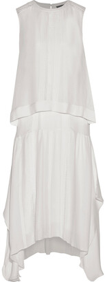 Belstaff Ama Layered Pintucked Silk Midi Dress