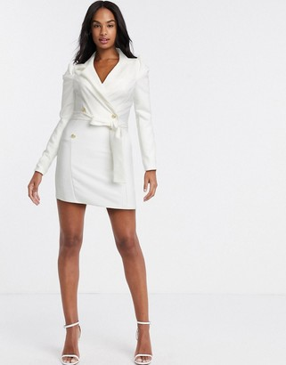 Outrageous Fortune double breasted blazer dress in white
