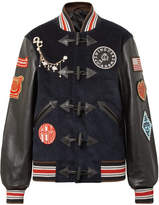 Opening Ceremony Appliquéd Corduroy And Textured-leather Bomber Jacket